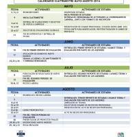 Calendario Oficial cuatrimestre mayo - agosto 2016