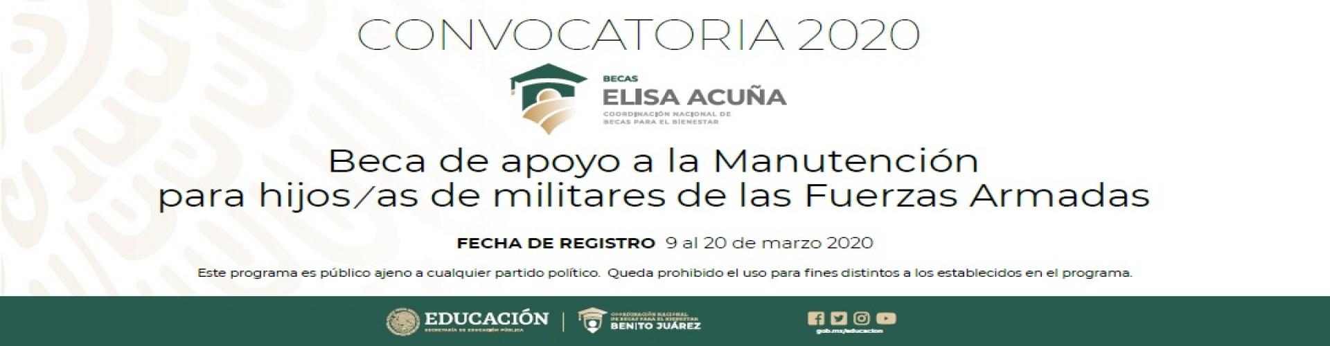 Convocatoria para la Beca de apoyo a la Manutención para hijos(as) de militares de las Fuerzas armadas