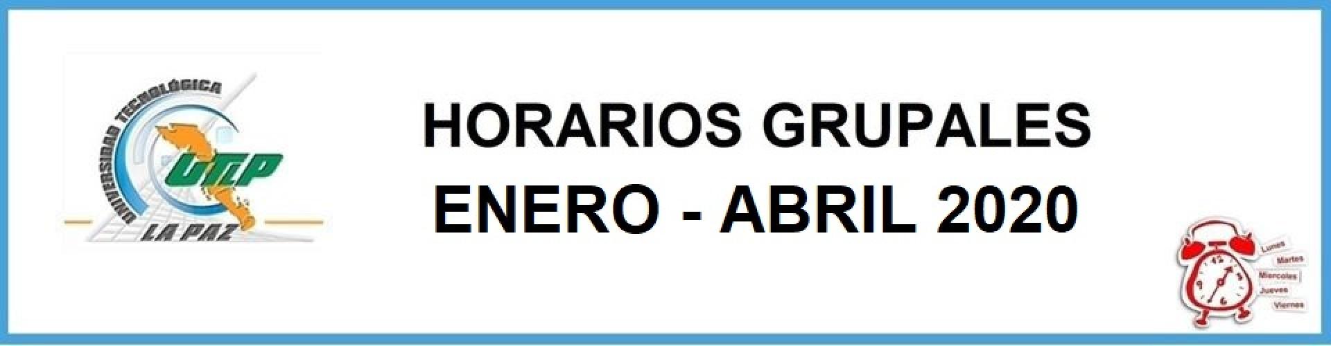 Horarios grupales Enero - Abril 2020