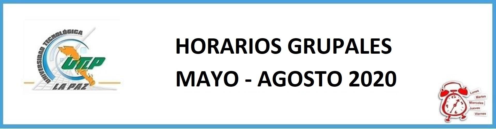 Horarios grupales Mayo - Agosto 2020